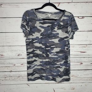 J. Crew Short Sleeve Camo Print Top